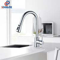SOGNARE Kitchen Faucets Single Hole Handle Pull Out Kitchen Sink Tap 360 Rotate Crane Chrome Swivel