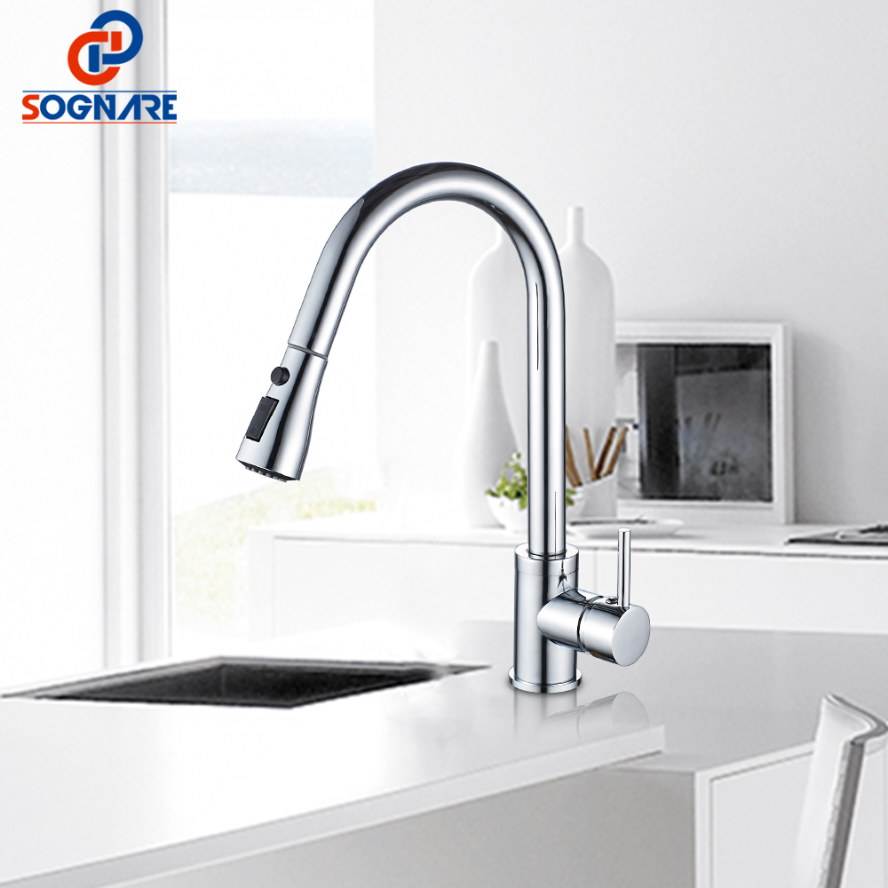 SOGNARE Kitchen Faucets Single Hole Handle Pull Out Kitchen Sink Tap 360 Rotate Crane Chrome Swivel Water Mixer torneira cozinha swanstone dual mount composite 33x22x10 1 hole single bowl kitchen sink in tahiti ivory tahiti ivory