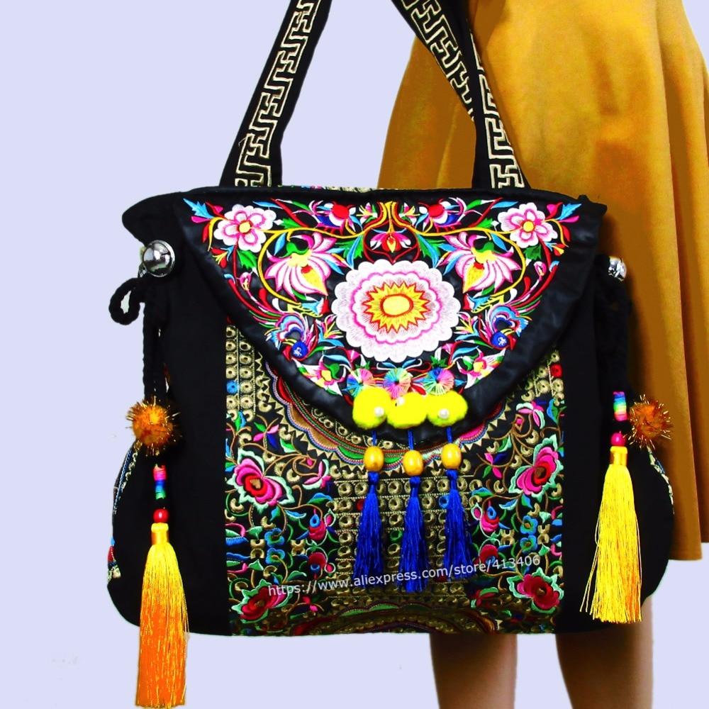 ФОТО 2-Usage Vintage Hmong Tribal Ethnic Thai Indian Boho shoulder bag messenger tote bag handmade, embroidery pom trim bell SYS-480