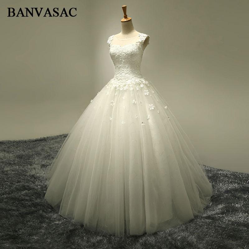 BANVASAC 2017 nieuwe elegante bloemen o hals trouwjurken mouwloze - Trouwjurken
