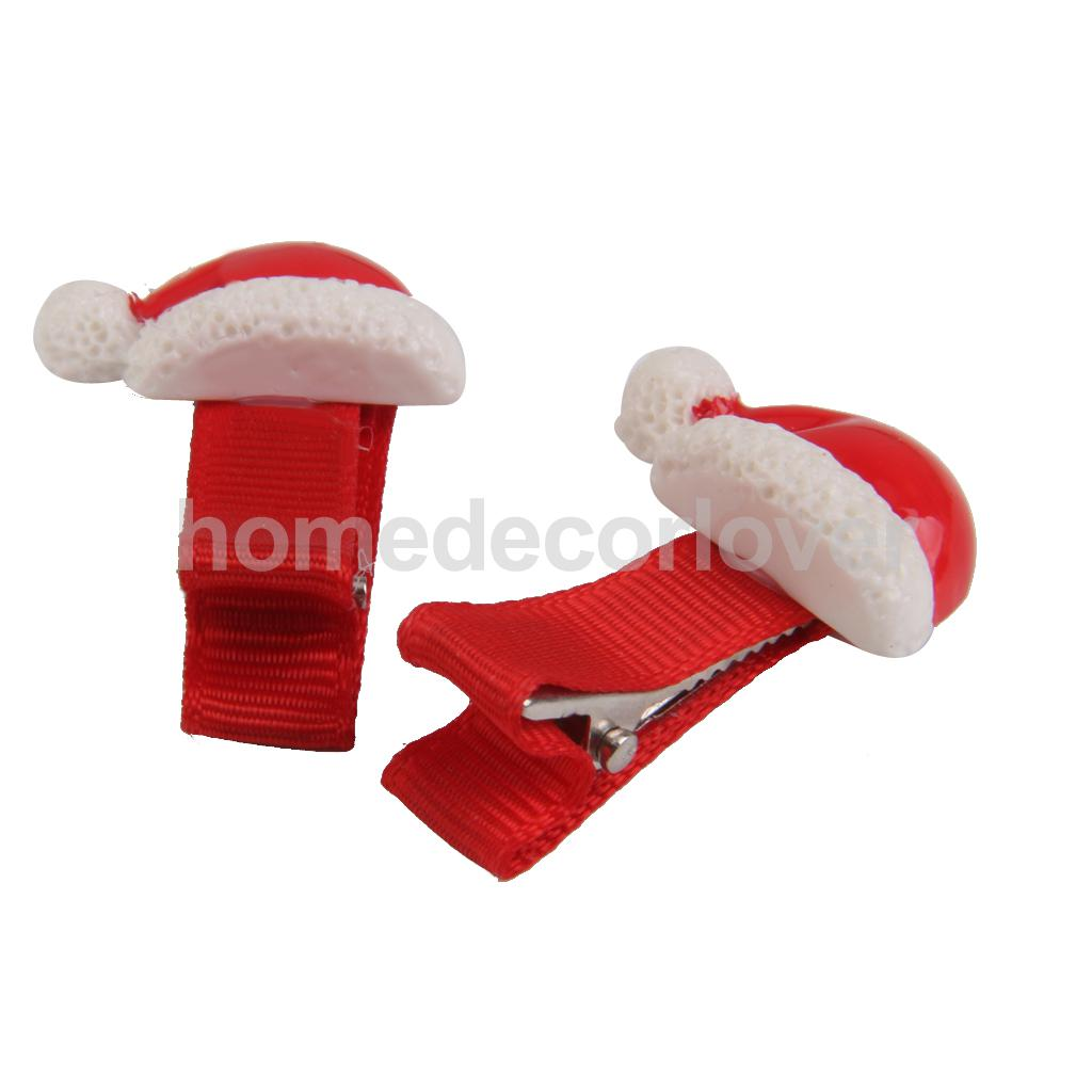 2x Baby Kids Girls Children Christmas Hat Alligator Clips Slides Snaps Grips