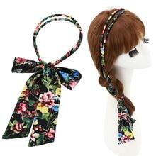 Unique Sale Women Flower Pattern Headbands Double Layer Chiffon Bow Turban Dual Purpose Vertical Cross Hair Accessory Adjustable