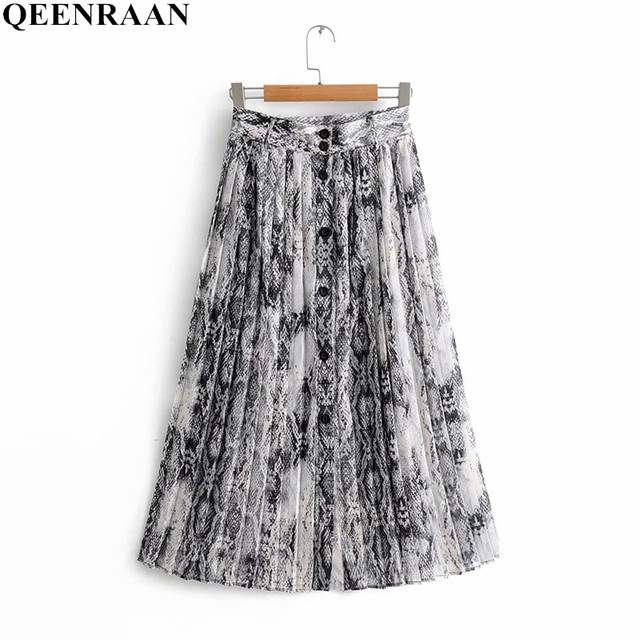 7559a43a1d8e 2018 New Women Vintage sexy snake skin print pleated midi skirt faldas  mujer ladies buttons casual slim chic skirts For Womens