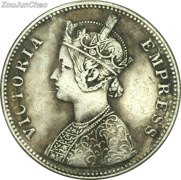World Coins India Victoria Queen 1878 One Rupee Brass
