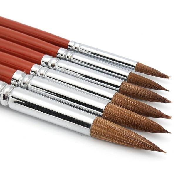 KiWarm 6 шт. высокое качество колинский Соболь волос Круглый точечный набор кистей для гуашь акрил Акварельная краска ing DIY ремесло