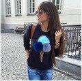 Женщины Упругие Футболки Топы Девушка Тис О-Образным Вырезом Пуловеры С Оформлены Плюшевые мороженое