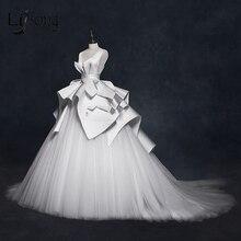 בציר 2018 חתונה שמלות ראפלס Ruched אלגנטי כלה שמלות צווארון V ללא משענת גבוהה סוף חתונת כותנות Vestido דה Noiva