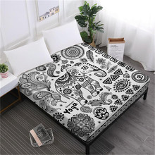 Bohemia Mandala Bed Sheet Dreamcatcher Elephant Fitted Floral Butterfly Print Bedding King Queen Deep Pocket D49