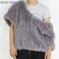ZERO*FISH Knit Rabbit Fur Jacket Nature Fur Coat With V collar Warm Outwear Fashion Winter Fur Waistcoat Trend model exhibition