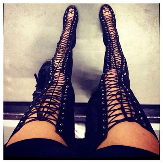 Hot Sexy Cut-Outs Thigh High Boots Lace Up Over-The-Knee Boots Woman Kim Kardashian Style High Heels Long Gladiator Sandals