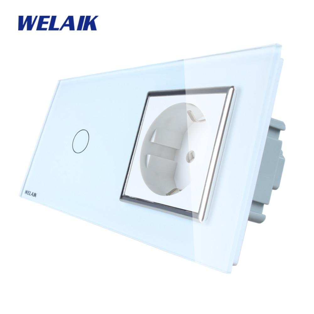 WELAIK Brand 2Frame Crystal Glass Panel Wall Switch EU Touch Switch Screen EU Wall Socket 1gang1way