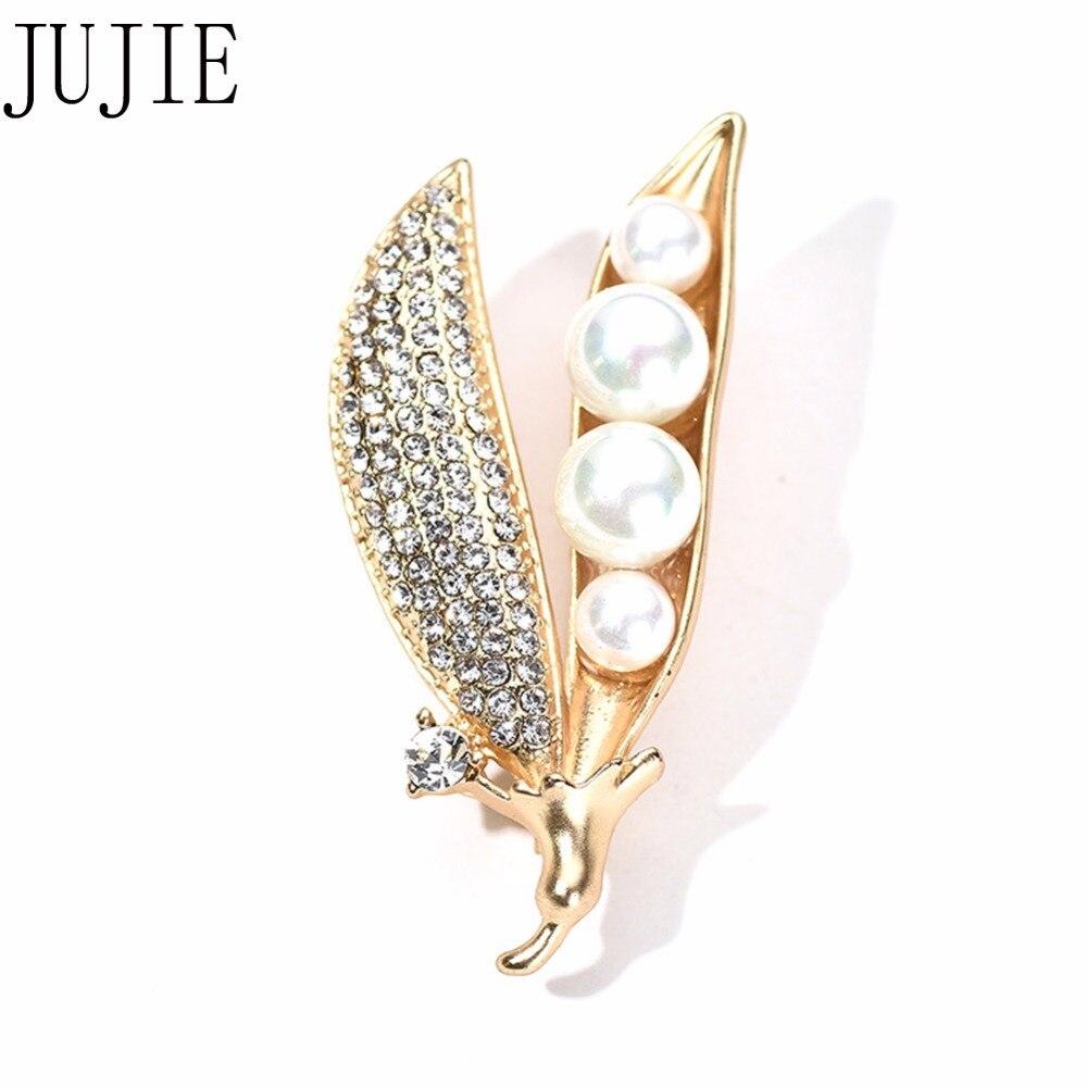 8e4636bc57 JUJIE moda cristal perla Pod broche joyería 2019 mujer oro planta broche Pin  Ropa Accesorios Dropshipping