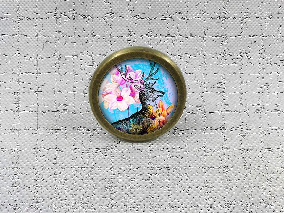 Deer  Drawer Knobs Vintage Style DIY Knobs Copper Sliver Bronze Modern Funiture Door Cabinet Handles Hardware dragonfly dresser knobs vintage style diy knobs copper sliver bronze modern funiture door cabinet handles hardware