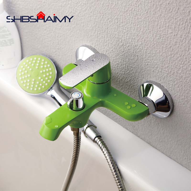 Bathroom Shower Brass Chrome Wall Mounted Shower Faucet Shower Head sets White Green Orange цена