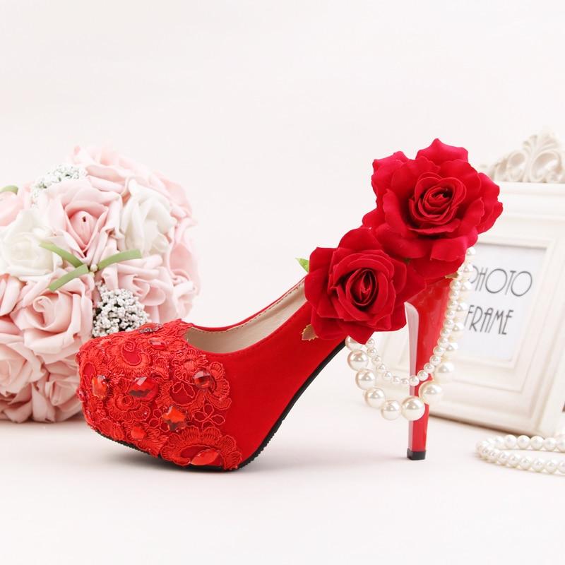 10cm 12cm Bombas Altos Red Perla Cadena Tacones 14 Plataforma Rosa Calzado Mujeres Cm Heel Novia Heel Mujer Rojo Boda Sexy De Zapatos Flores red Partido 14cm wA7SAgqO