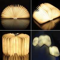 New Creative Wood Foldable Pages Led Book Shape Night Light Lighting Lamp Portable Booklight USB Rechargeable