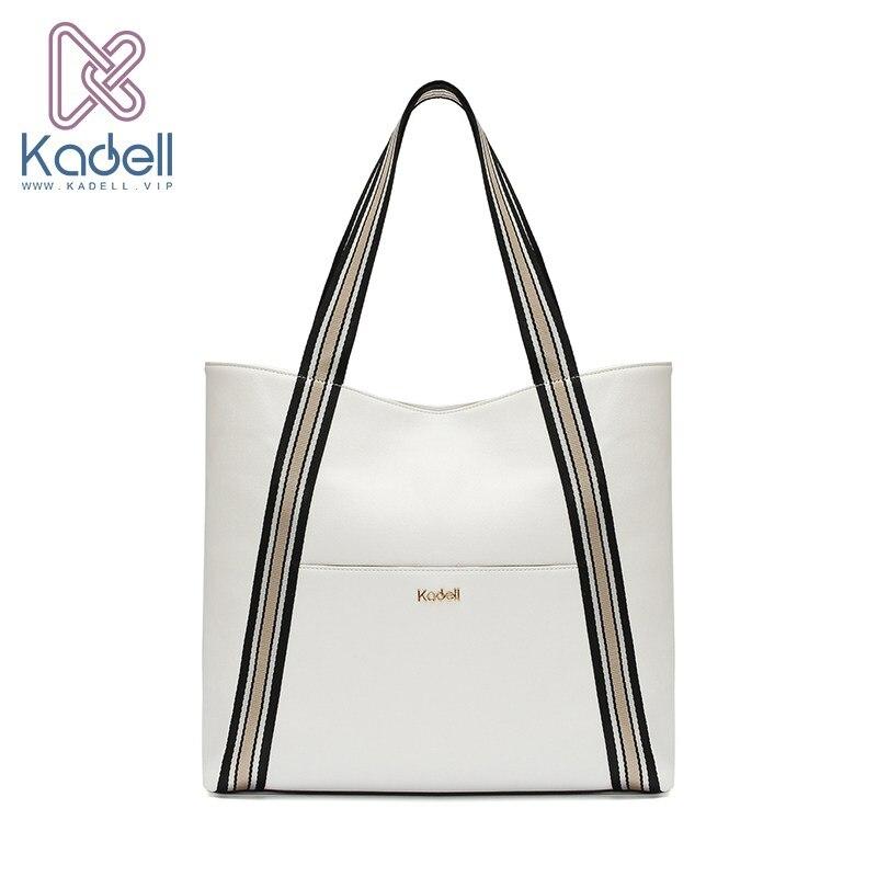 Kadell Women Leather Luxury Handbags Big Capacity Tote Bag Wide Shoulder Strap Shopping Shoulder Bag Famous Designer Brand Bags