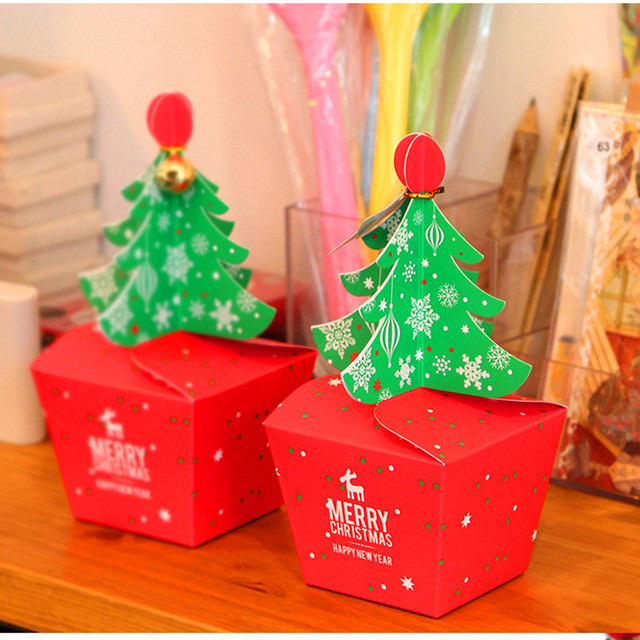 50pcs 2 sizes christmas decoration christmas tree candy box paper boxes apple gift box favor box