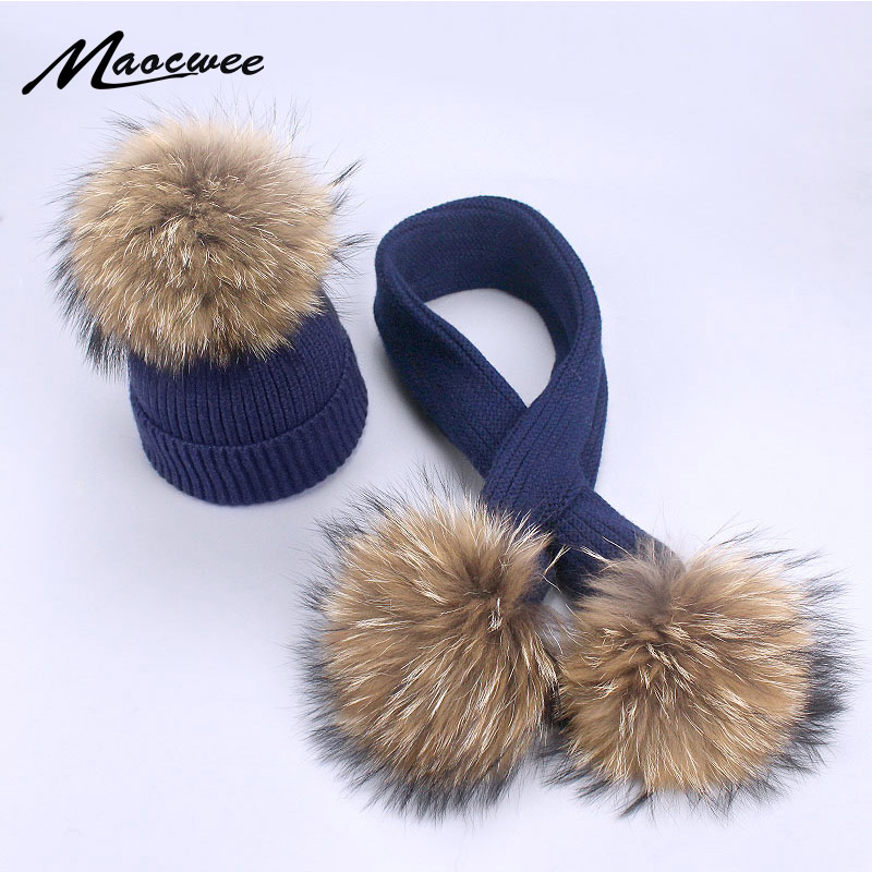 100 Echtpelz Pom Pom Hut Schal Set Winter Weibliche Warme Wolle