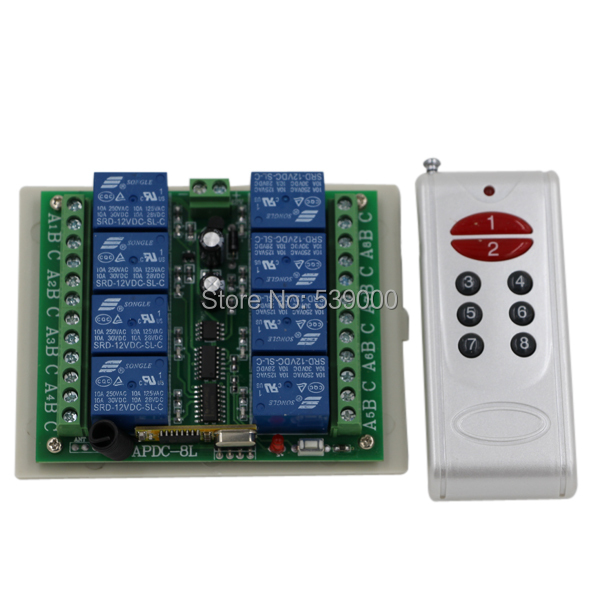 DC12V 8 CH 8CH Radio Controller RF Wireless Remote Control Switch System 315/433 Mhz Transmitter and Receiver 12v 8ch power switch rf wireless remote control system transmitter