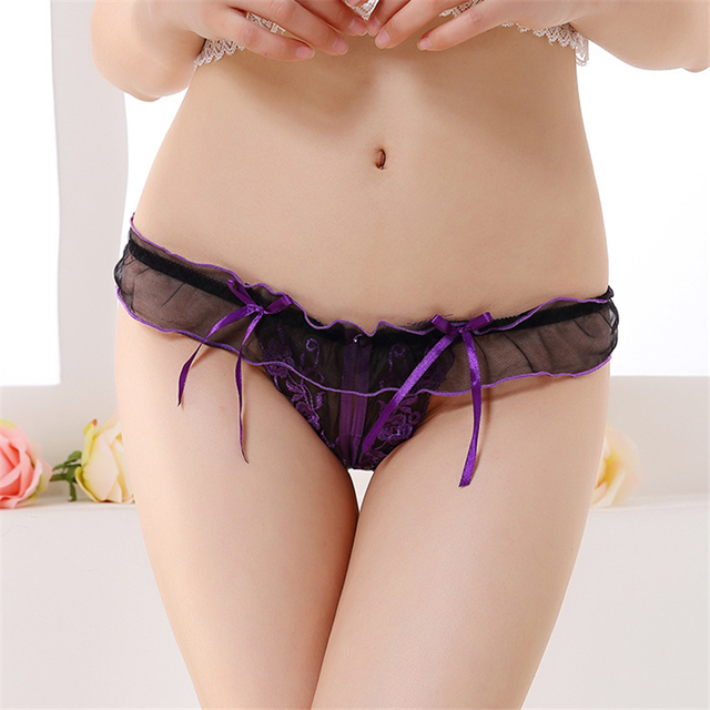 Transparent Women Lace Panties Thong Low Waist Embroidery Sexy Panties Sexy Women Underwear G String With Ruffles