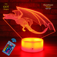 Hyodream Dinosaur Lamp,Dinosaur Night Light Kids Light,16 Colors with Remote 3D Optical Illusion Lamp as a Pefect Gif