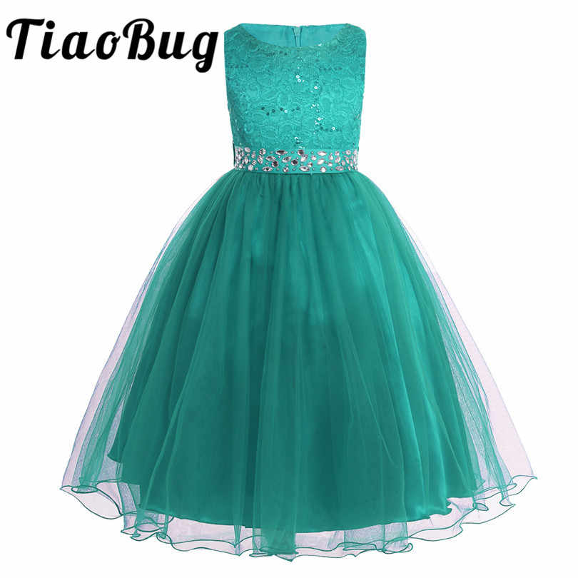 fb3c1441eac Tiaobug Flower Girls Dress Sequins Lace Mesh Tulle Chiffon Ball Gown  Pageant Princess Party Dress For