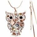 Новый зимний дизайн длинная цепочка для свитера Блестящий австрийский кристалл Сова золотого цвета кулон ожерелье свитер модные украшения 84500 - фото