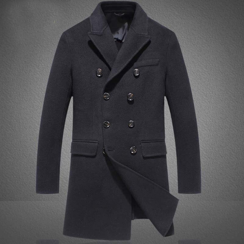 3XL Mens Autumn Winter Warm Wool Male Fashion Casual Woolen Jacket Coat Double Breasted Outerwear Coat Male Plus Size
