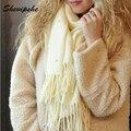 Diseño de la perla de Imitación de la Cachemira de Pashmina Bufanda Del Invierno Mujeres Bufandas Y Chal Marca Borla Chales Chica Manta Abrigo Bandana Q2
