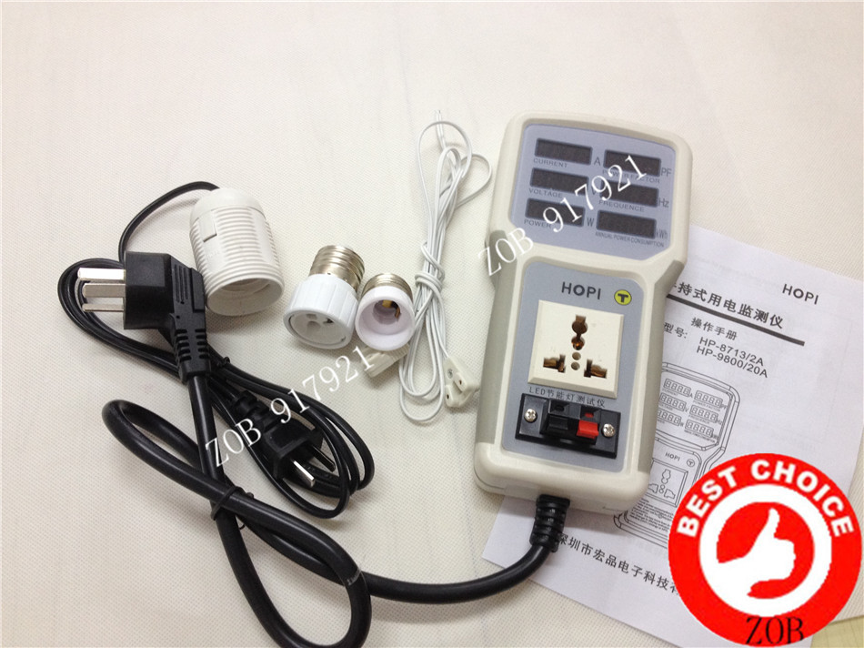 LED energy-saving LED lamps T8 tube lamps tester power meter power factor meter Ammeter Free with E27 E14 GU10 T8test connector hp 9800 4500w 85 265v 20a electric power energy monitor socket watt meter analyzer with socket output energy saving lamps tester