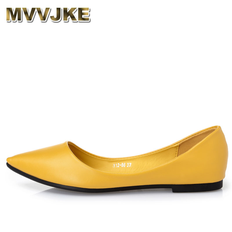 MVVJKE Lady shoes loafers soft leather pointed toe heel dance slip-ons flats spring breathable yellow black grey plus size 41 odetina 2017 new women pointed metal toe loafers women ballerina flats black ladies slip on flats plus size spring casual shoes
