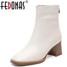 FEDONAS 1 موضة النساء حذاء من الجلد جلد طبيعي الخريف الشتاء الدافئة عالية الكعب أحذية جولة تو أنيقة مكتب سيدة أحذية امرأة