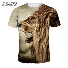 ФОТО e-baihui 2018 new fashion men/women t-shirt 3d lion print designed stylish summer t shirt brand tops tees plus size s-3xl t-1-2