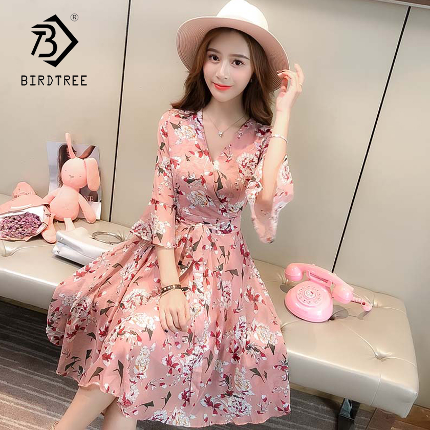 d66f80f1377e3 Detail Feedback Questions about 2018 New Arrival Summer Women's Dresses  Sexy V Collar Sweet Chiffon Short Fare Sleeve Slim High Waist Clothing Hots  Sale ...