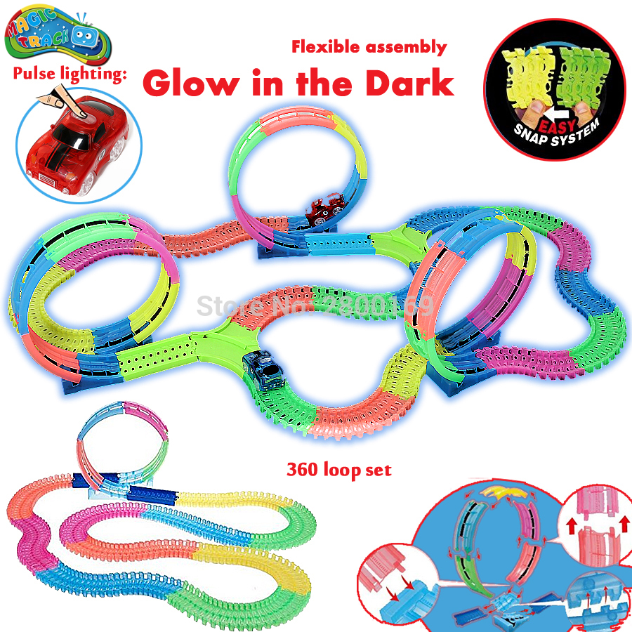 Magic Track Bend Flex 360 Loop Glow In The Dark DIY Assembly Luminous Toy Slot Race Track Toy Car With 5 LED Flashing Lights
