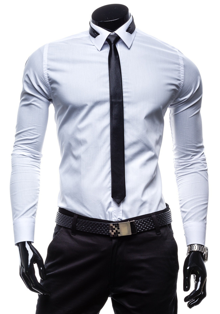 shirt  tie) New Men Shirt 2015 Fashion Design White Mens Slim Fit ...