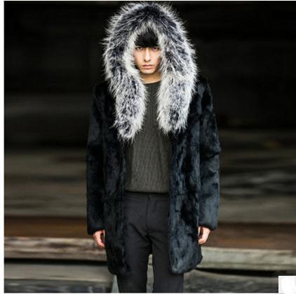 S/5Xl Male Plus Size Casual Winter Autumn Hooded Faux Fur Overcoats Casaco Masculino Mens Fur Coat Imitation Fur Outwear K430