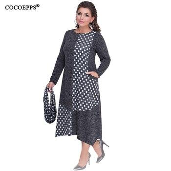 COCOEPPS Plus Sizes Autumn Women Dresses 2019 Winter Large Size Loose Dress Female Long Big Size Dress Women Clothings 5XL 6XL 3