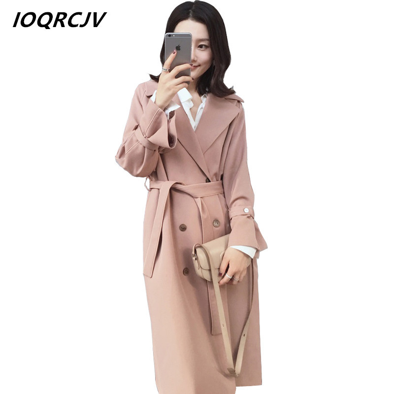 2018 Women Clothing Spring Autumn Double Breasted   Trench   Coat Fashion Belt rench coat for Female Casual Outwears Windbreaker S61