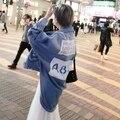 Corea moda para Mujer Ropa de Manga Murciélago Loose Impreso Diseñador Jeans Outwear Nuevo Estilo Esmoquin Mujeres Denim Jacket Coat