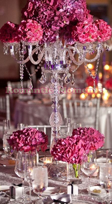 Crystal wedding candelabras table centerpiece in candle