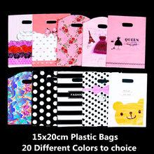 fcc605849 15x20 cm regalo embalaje bolsas de plástico manijas ropa compras regalo  bolsa niños joyería boda suministros