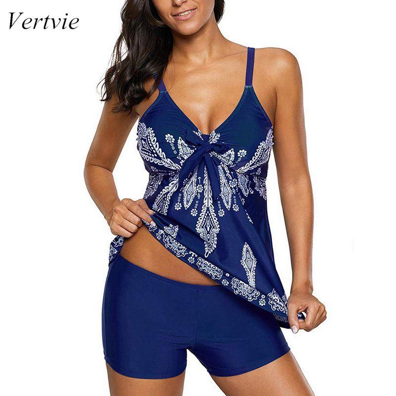 Vertvie 2019 New Summer Floral Print Women Sexy Deep V Bikini Set  Two Piece Swimwear Beach Dress Bathing Suit