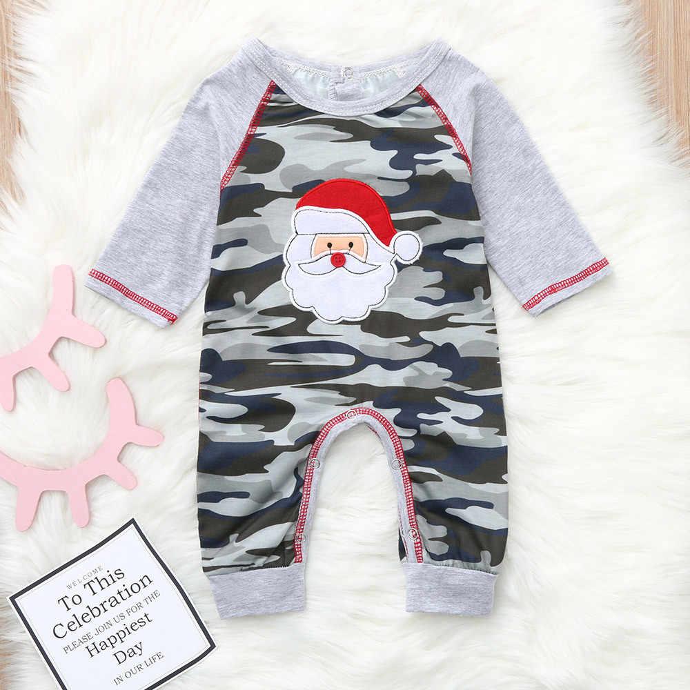 絶妙なベビー少年少女服クリスマスクリスマスサンタ迷彩ロンパーススーツ服幼児ジャンプスーツロンパース Vetements