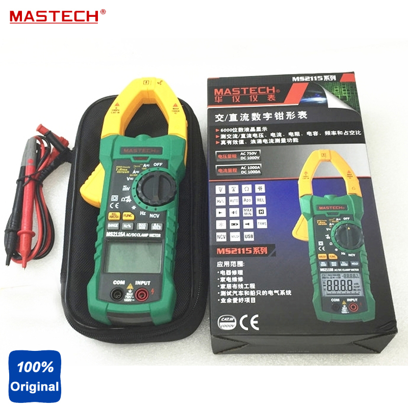 MASTECH MS2115A True RMS Digital Clamp Meter Multimeter Voltage Current Resistance Capacitance Tester digital dc ac clamp meters multimeter true rms voltage current resistance capacitance 1000a tester mastech ms2115a