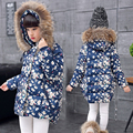 Crianças roupas meninas jaqueta de inverno para baixo algodão acolchoado floral impresso crianças outerwear casaco com capuz casaco de inverno quente menina
