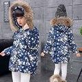 Ropa de los niños niñas chaqueta de invierno abajo de algodón acolchado impreso floral niños prendas de vestir exteriores de la capa encapuchada caliente chica abrigo de invierno