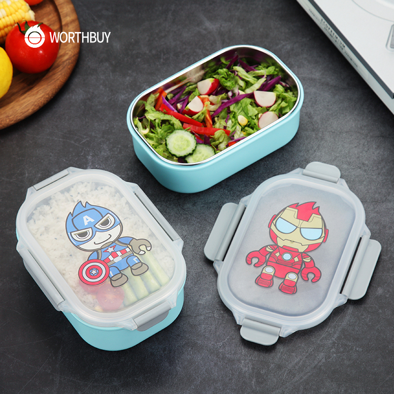 WORTHBUY Cute Cartoon Kids Bento Box 304 Stainless Steel Food Container Japanese Microwave Lunch Box Leak-Proof Food BoxWORTHBUY Cute Cartoon Kids Bento Box 304 Stainless Steel Food Container Japanese Microwave Lunch Box Leak-Proof Food Box