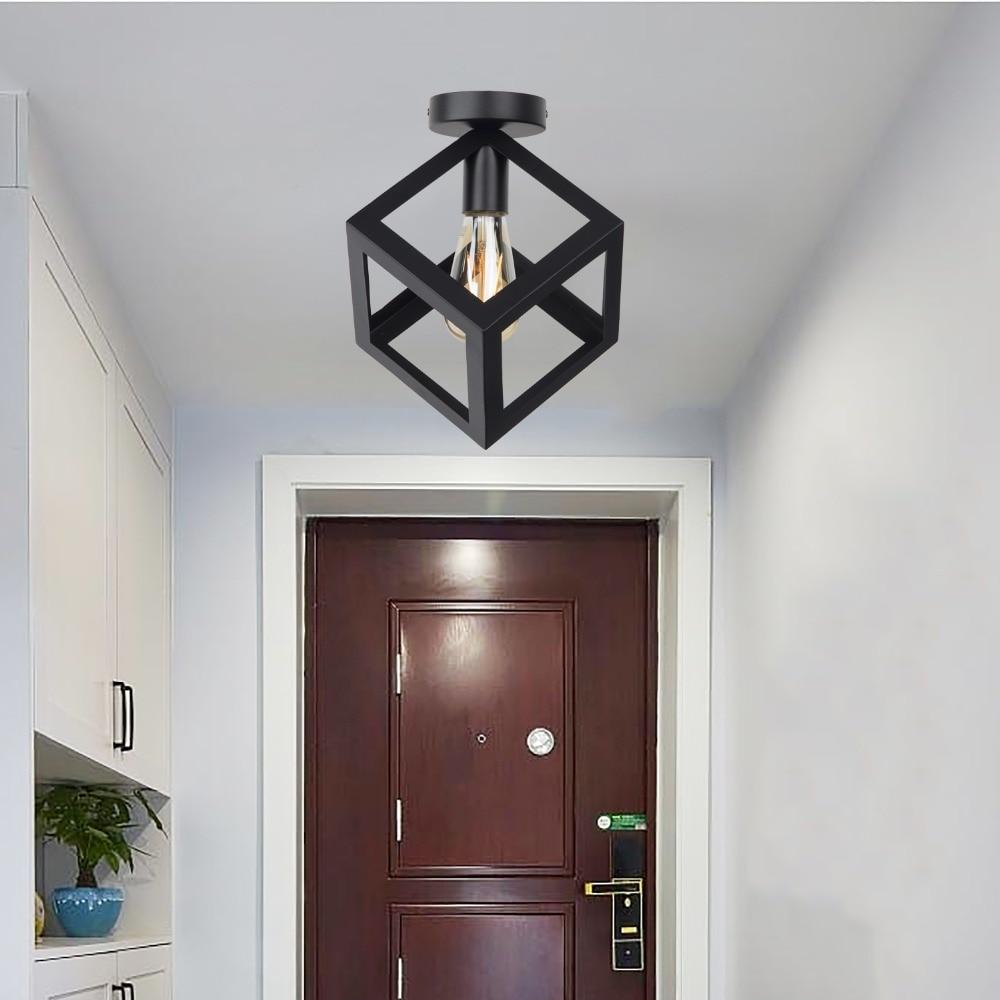 HTB1fI2AV7zoK1RjSZFlq6yi4VXah Zhaoke Vintage Iron Black Ceiling Light LED  Industrial Modern Ceiling Lamp Nordic Lighting Cage Fixture Home Living Room Decor